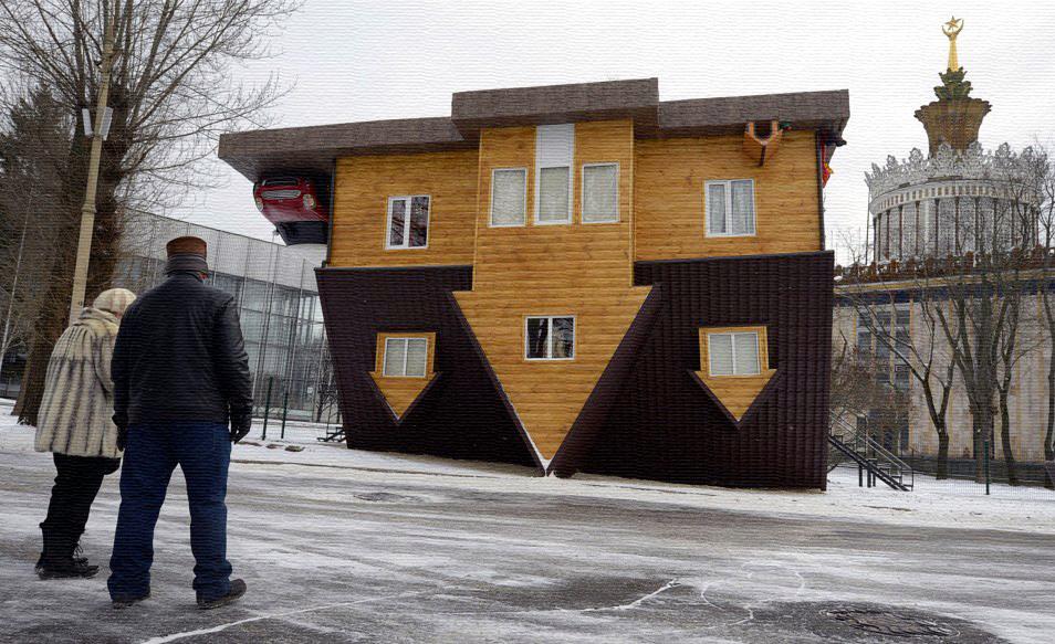 Перевернутый дом или дом-перевертыш в Москве