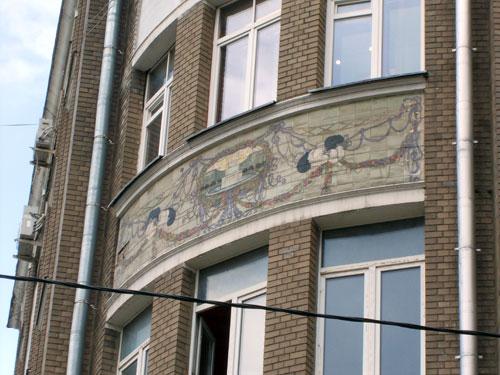 Оформление фасада на доме по Мясницкой, 24
