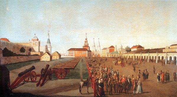 Первое здание МГУ на старой гравюре